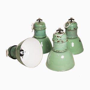 Industrielle Emaillierte Deckenlampe, 1950er