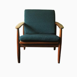 Mid-Century Blue Green & Teak Lounge Chair, 1960s