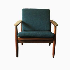 Mid-Century Sessel in Blaugrün & Teak, 1960er