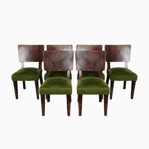 Art Deco Esszimmerstühle, 1940er, 6er Set