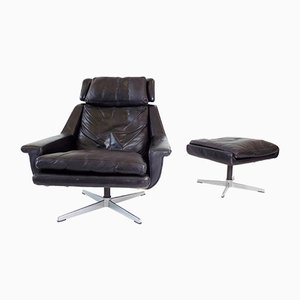 802 Black Leather Lounge Chair & Ottoman by Werner Langenfeld for ESA, 1960s, Set of 2