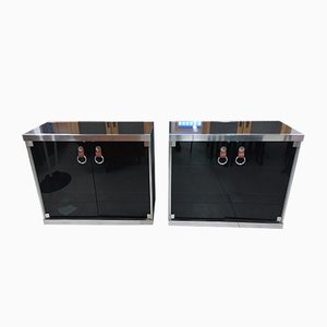 Vintage Wood Black Cloth Sideboards with Marble Top by Guido Faleschini for i 4 Mariani, Set of 2