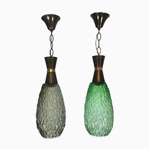 Italienische Metall & Glas Hängelampen, 1960er, 2er Set