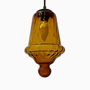 Brown Glass Lantern Ceiling Lamp, 1960s