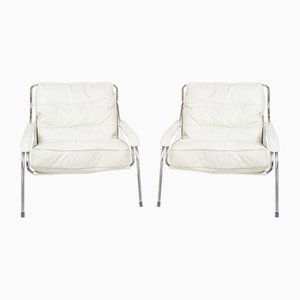 White Leather Maggiolina Lounge Chairs by Marco Zanuso for Zanotta, 1970s, Set of 2
