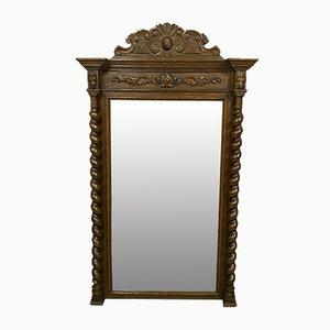 Specchio grande in stile rinascimentale in legno di quercia massiccio, metà XIX secolo