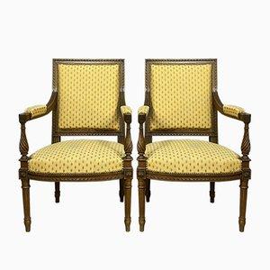 Parisian Louis XVI Mahogany Lounge Chairs, 1850s, Set of 2