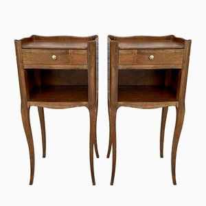 French Walnut Nightstands with Drawer & Open Shelf, 1950s, Set of 2