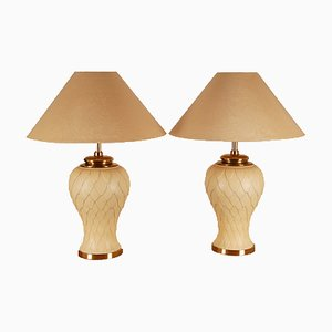 Hollywood Regency Gilt Metal & Brass Table Lamps from Maison Charles, 1970s, Set of 2