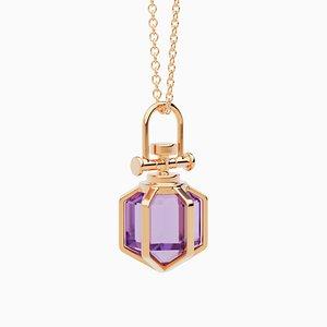 Minimalistische Moderne 18 Karat Roségold Mini Six Senses Talisman Halskette mit Natürlichem Amethyst von Rebecca Li