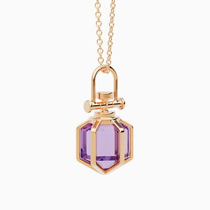 Modern Minimalist 18k Solid Rose Gold Mini Six Senses Talisman Pendant Necklace with Natural Amethyst by Rebecca Li