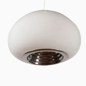 Lampe à Suspension en Verre Opalin et en Métal par Pier Giacomo Castiglioni pour Flos, Italie, 1969