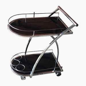 Italian Glass and Chrome Trolley, 1970s