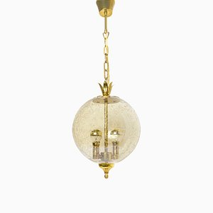 Mid-Century Ball Pendant Lamp with Crown, 1960s
