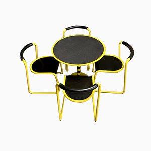 Sedie e tavolo Milano nr. 84 postmoderno di Airon, anni '80, set di 5