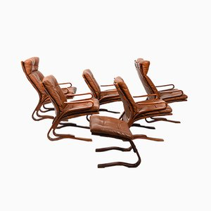 Danish Cognac Leather Skyline Seating by Einar Hove for Hove Møbler, 1970s, Set of 6