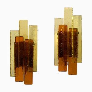 Applique in vetro color ambra di Svend Aage Holm Sørensen per Holm Sørensen & Co, anni '70, set di 2