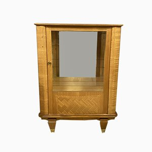 Leuleu Style Art Deco Sycamore Showcase Cabinet with Wood Inlay, 1920s