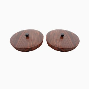Rosewood-Look Lidded Bowls, 1960s, Set of 2