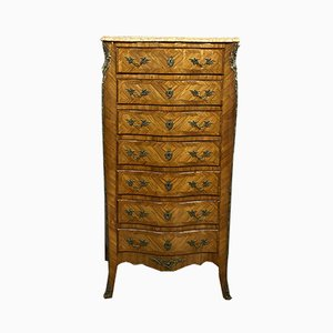Antique Louis XV Style Curved Wood Semainier Cabinet with Wood Inlay, Circa 1900