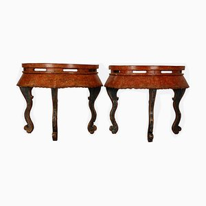 Chinese Ming Style Lacquered Elm Demilune Console Tables, 1800s, Set of 2