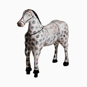 Swedish Painted & Carved Horse in Wood, 19th Century