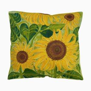 Handbemaltes Kissen in Sonnenblumen-Optik