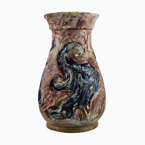 Art Nouveau Vase in Glazed Ceramic from Moller & Bøgely, 1910s