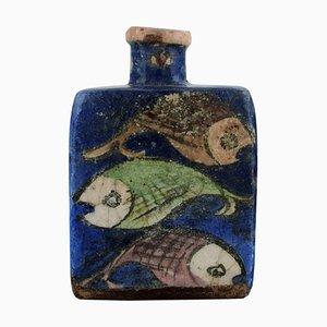 Triangular Vase in Hand-Painted Glazed Ceramics