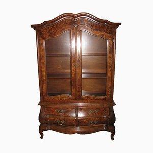 Antique Display Cabinet in Dark Solid Wood