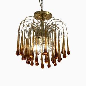 Italian Brass and Murano Glass Teardrop Chandelier by Paolo Venini
