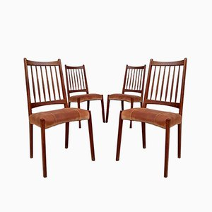 Mid-Century Leather Danish Dining Chairs from Mogens Kold, Set of 4