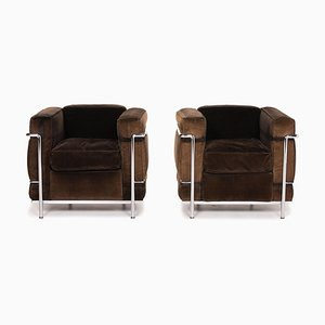 Model LC 2 Cord Fabric Armchairs by Le Corbusier for Cassina, Set of 2