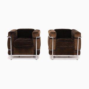 Poltrone modello LC 2 Cord Fabric di Le Corbusier per Cassina, set di 2