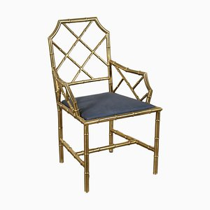 Italian Brass & Leatherette Chair, 1950s