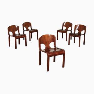 Chaises en Placage de Bois, 1980s, Set de 5