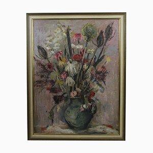 Carl Busch, Flower Still Life, años 40, óleo sobre lienzo