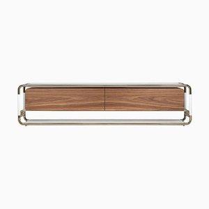 Tv Tisch aus Messing, Marmor und Holz