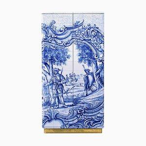 Mueble con azulejo pintado a mano