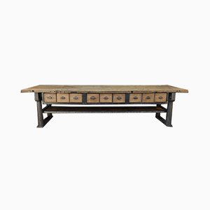 Antique Industrial Iron & Wood Console Table, 1900s