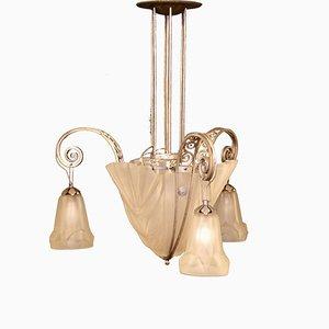 French Art Deco Pendant Lamp by David Gueron for Verrerie D'Art Degué, 1920s