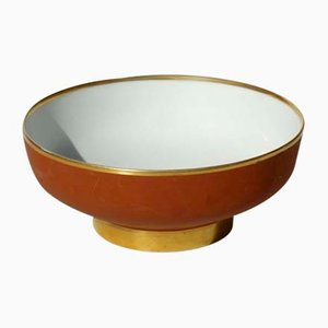 Italian Art Deco 24-Karat Gold & Porcelain Bowl from Arrigo Finzi, 1920s