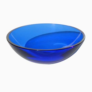 Italian Blue Murano Glass Bowl from Vistosi, 1980s