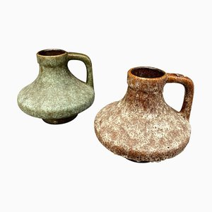 Mid-Century German Lava & Ceramic Jugs by Heinz Martin for Es Keramik, 1970s, Set of 2