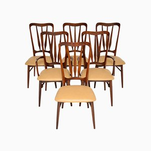 Danish Wood & Leather Dining Chairs by Niels Kofoed, 1960s, Set of 6