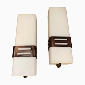Mid-Century Copper & Glass Sconces from Stilnovo, 1960s, Set of 2