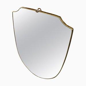 Mid-Century Gio Ponti Style Brass Mirror, 1950s