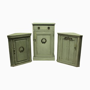Antique Swedish Gustavian Wood and Silver Cabinets, Set of 3