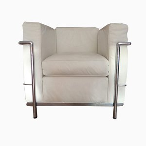 Vintage White Leather Armchair