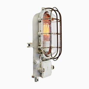 Mid-Century Cast Iron & Glass Sconce from Schuch